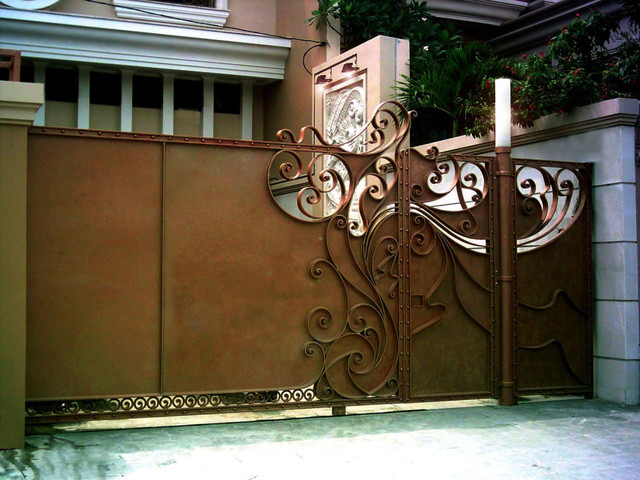 Wrought Iron Sliding Gate eclectic-entry