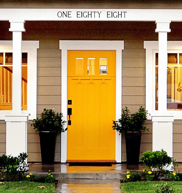 Yellow Craftman Front Door Craftsman Entry Orange County By
