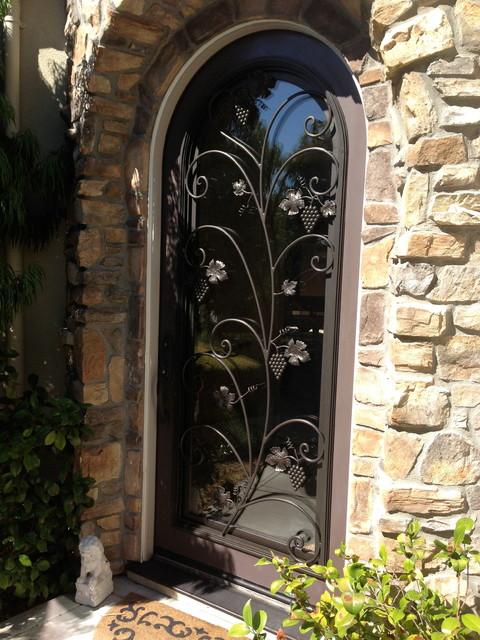 Zinfandel Wrought Iron Door Insert Operable Hinge Glass
