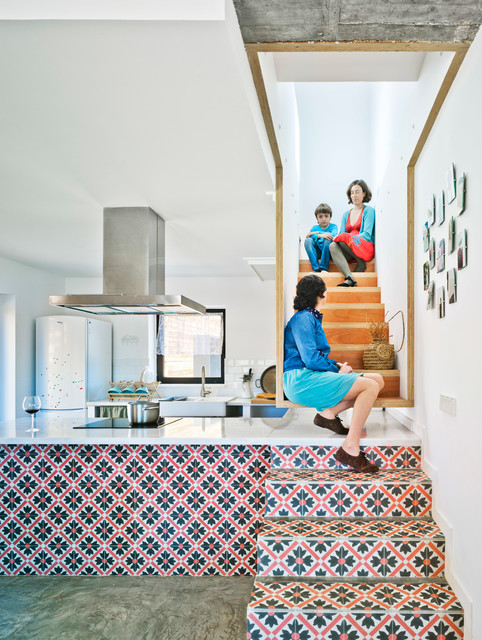 Staircase - mid-sized contemporary tile straight staircase idea in Other with tile risers