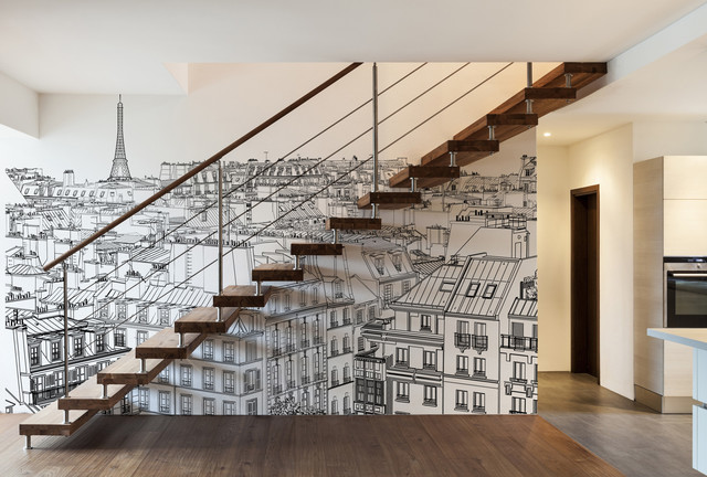 D coration d 39 un escalier papiers peints personnalis s for Decoration murale vue sur new york