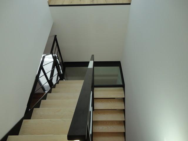 Escalier Acier Bois Et Palier Intermediaire Verre