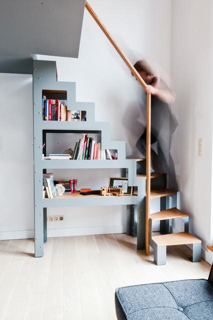 Escalier bibliothèque Libro et rambarde dressing ouvert pour ...