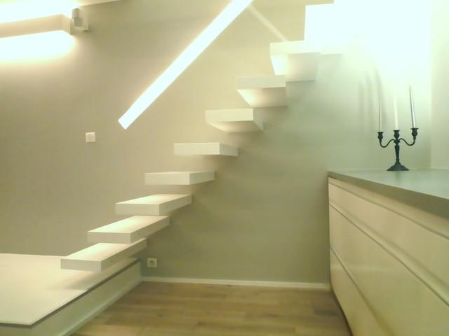 escalier bois moderne flottant - Contemporain - Escalier - Paris ...