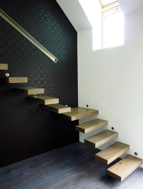 escalier bois moderne suspendu contemporain escalier other metro par la stylique. Black Bedroom Furniture Sets. Home Design Ideas