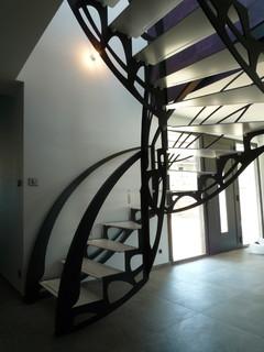 Escalier design double quart tournant - Escalier colimacon double niveau ...