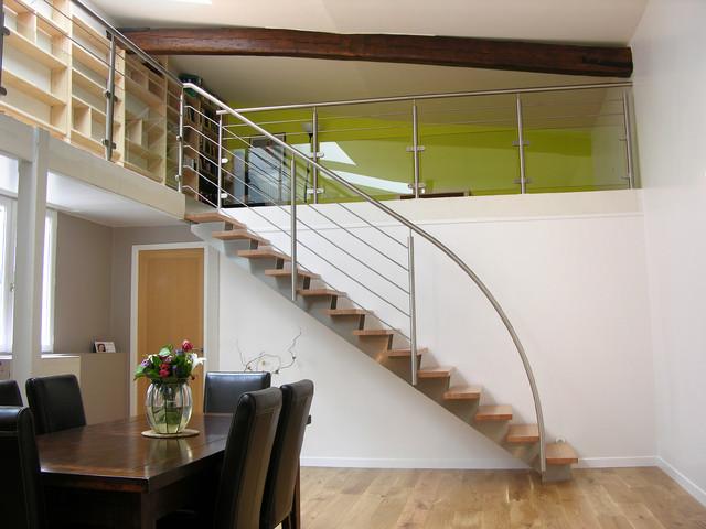 escalier droit design inox et bois contemporain escalier other metro par. Black Bedroom Furniture Sets. Home Design Ideas