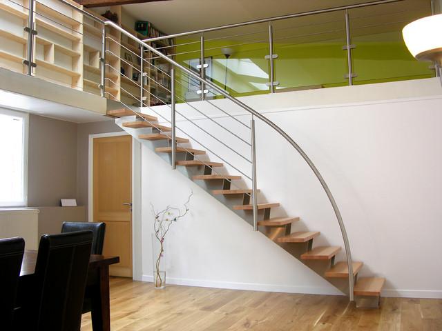 Escalier Droit Design Inox et Bois - Contemporain - Escalier - Paris ...