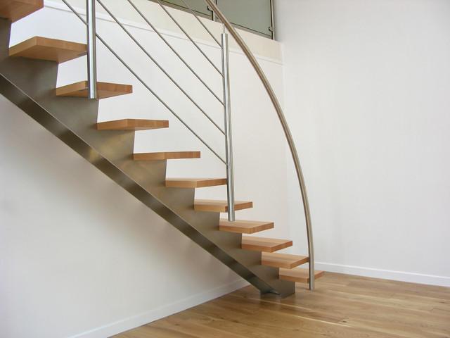 Escalier droit design inox et bois contemporain escalier autres p rim t - Transformer un escalier en bois ...