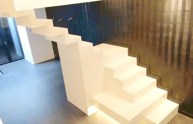 Escaliers en b ton cir contemporain escalier other - Beton cire sur escalier beton ...