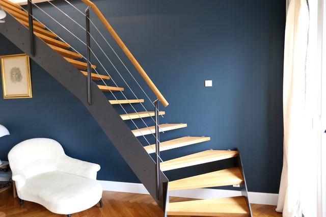 escalier loft ambiance industriel m tal et bois moderne escalier nice par passion bois. Black Bedroom Furniture Sets. Home Design Ideas