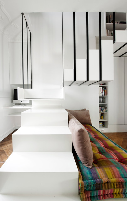 escalier suspendu contemporain escalier other metro par ga lle cuisy karine martin. Black Bedroom Furniture Sets. Home Design Ideas