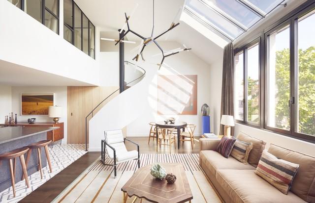 Hallou escaliers h lico dal rampe pleine contemporary staircase paris - Escalier helicoidal bois metal ...