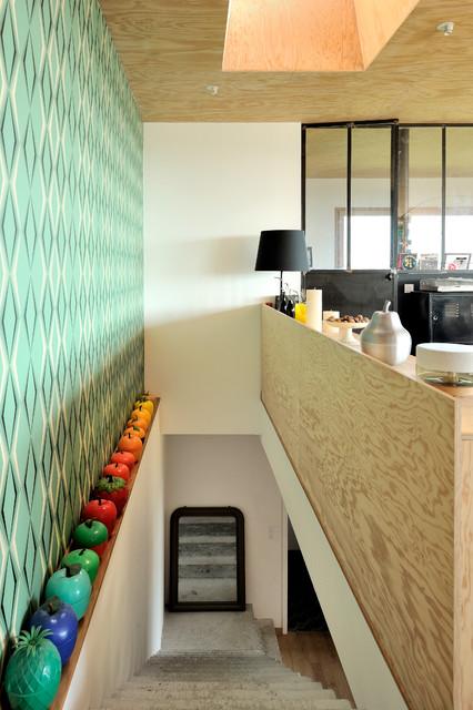 Maison contemporaine béton/bois - Contemporain - Escalier - Lyon ...