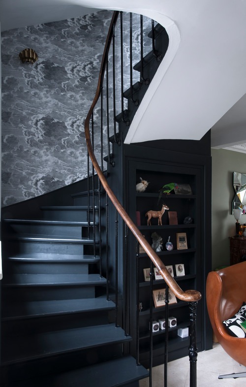 Cloud decor along a dramatic staircase
