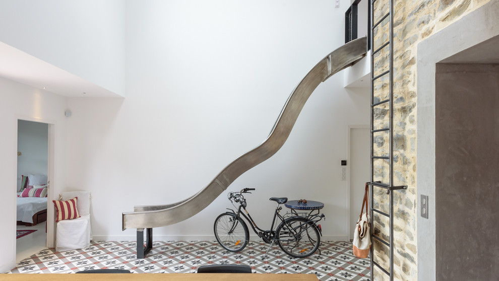 Inspiration for a mid-sized contemporary staircase remodel in Other
