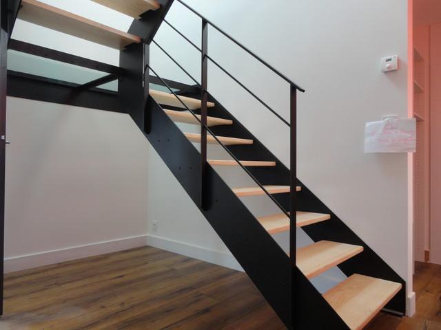 palier vitr acier et fr ne olivier contemporain escalier rennes par hallou. Black Bedroom Furniture Sets. Home Design Ideas