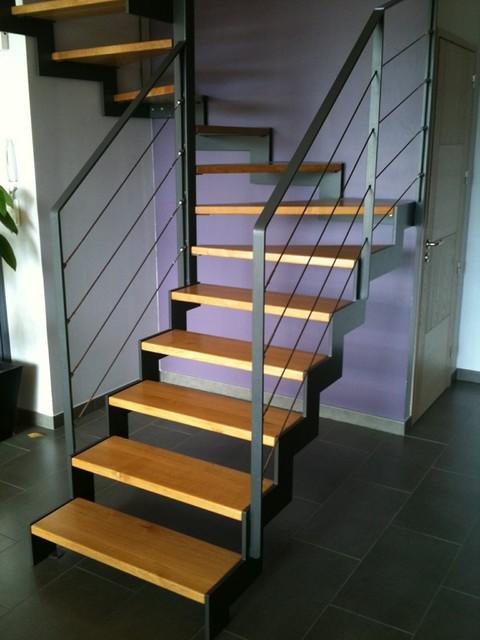 réalisation escalier métal double crémaillère plus garde-corps