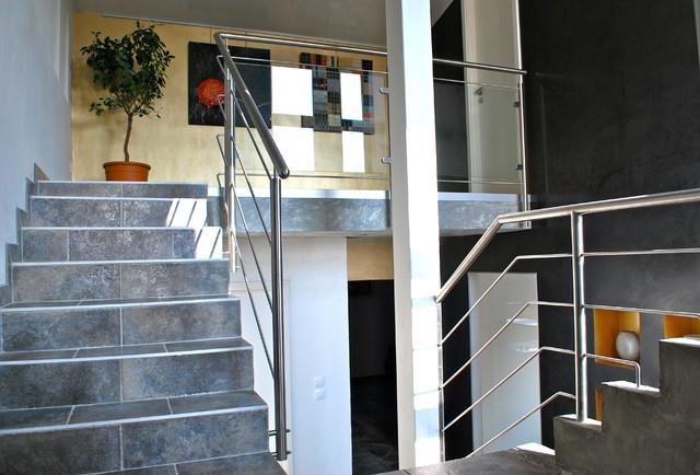 r novation d 39 un s jour cuisine hall d 39 entr e contemporain escalier nantes par en toile. Black Bedroom Furniture Sets. Home Design Ideas