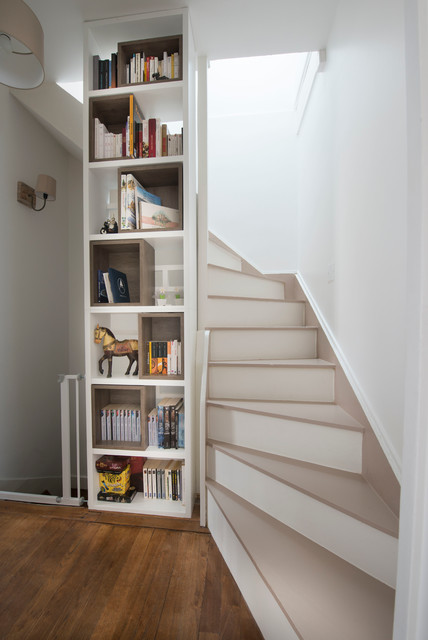 R novation d 39 une maison en meuli re contemporain escalier paris p - Escalier interieur maison ...