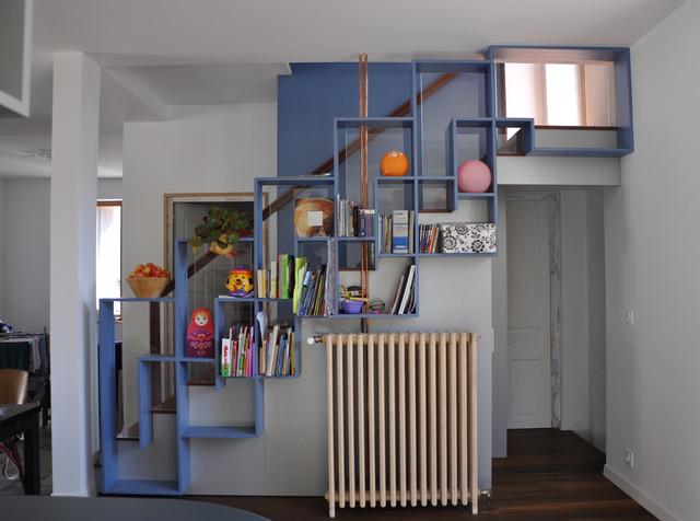 renovation maison ann es 39 30 contemporain escalier dijon par daria roncara architecte. Black Bedroom Furniture Sets. Home Design Ideas