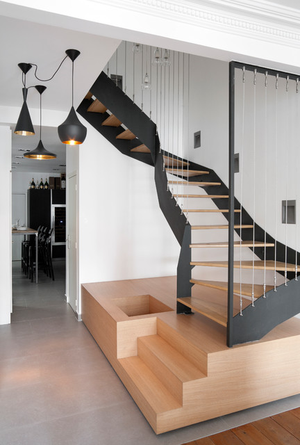 un duplex saint germain des pr s contemporary staircase other metro by atelier fb. Black Bedroom Furniture Sets. Home Design Ideas