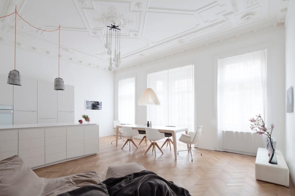 Idee per una sala da pranzo aperta verso la cucina minimalista
