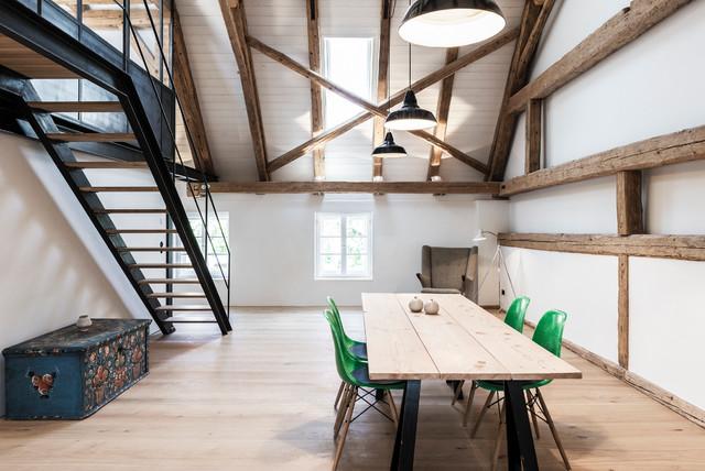 Bauernhaus Modernisierung Bayern Skandinavisch Esszimmer