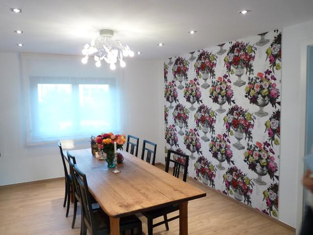 wandbespannung mit stoff im esszimmer landhausstil esszimmer sonstige von bieser. Black Bedroom Furniture Sets. Home Design Ideas