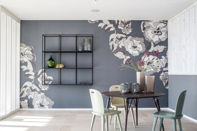 Wandbild für eine Esszimmer mit integriertem Regal - Modern ...