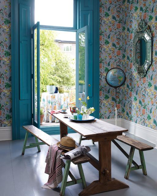 wohnraum mit blick auf balkon wallpaper farbrics matching pattern landhausstil esszimmer. Black Bedroom Furniture Sets. Home Design Ideas