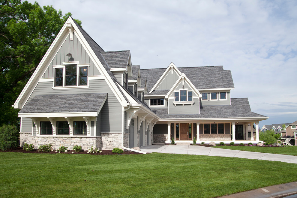 Inspiration for a timeless gray two-story gable roof remodel in Minneapolis