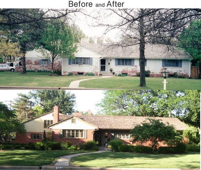 1950 39 s home after before traditional exterior wichita for Before and after home exteriors remodels