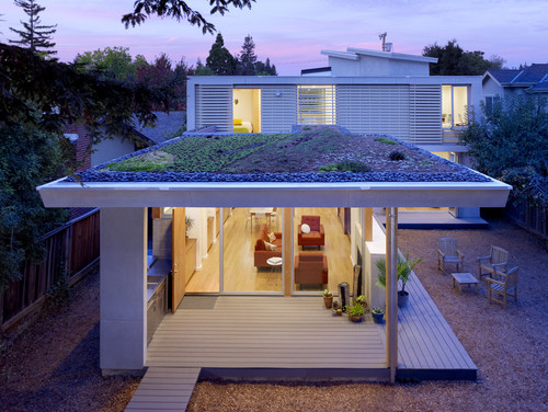 home with a green roof