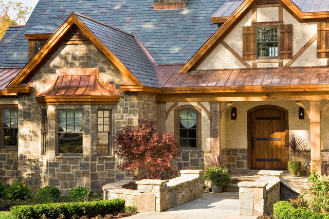 Mountain Style Stone Exterior Home Photo In Boston