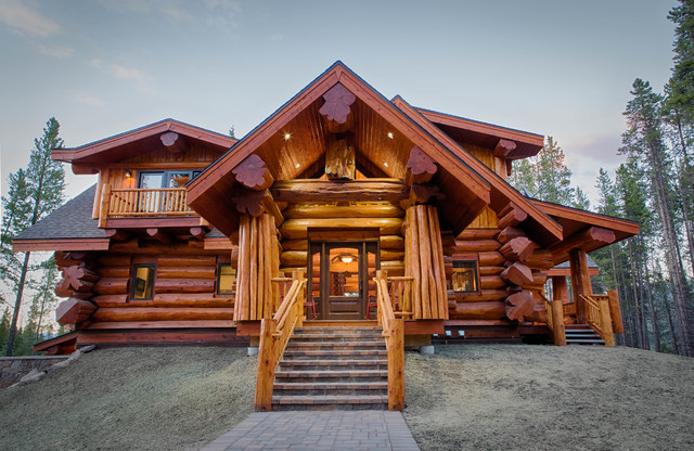 Log Home Exterior Doors how to choose the right doors for your home 2013 Parade Home Moose Ridge Cabin Log Home Rustic Exterior