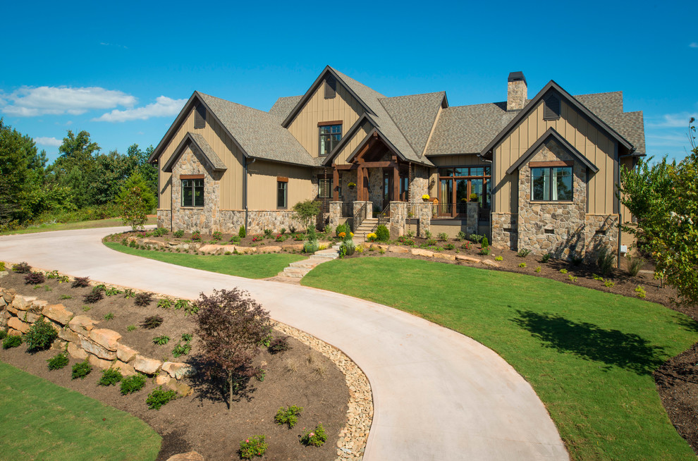 Rustic brown exterior home idea in Other