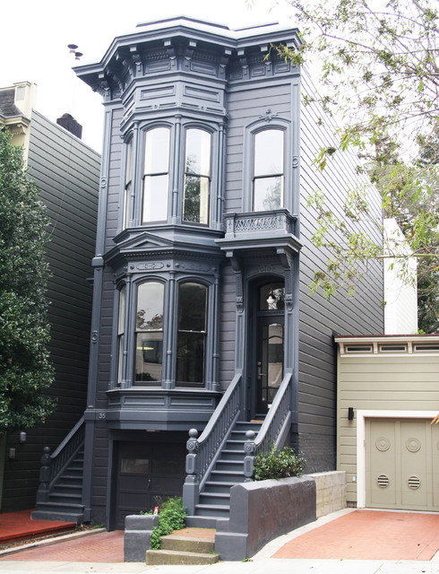 Inspiration for a victorian three-story exterior home remodel in San Francisco