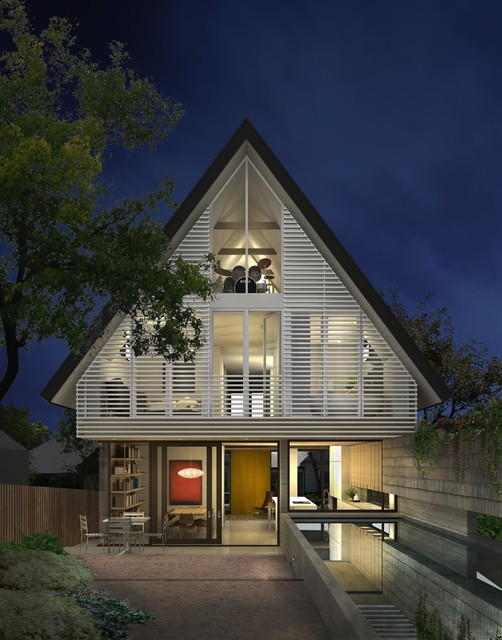 Inspiration for a contemporary white three-story gable roof remodel in Austin