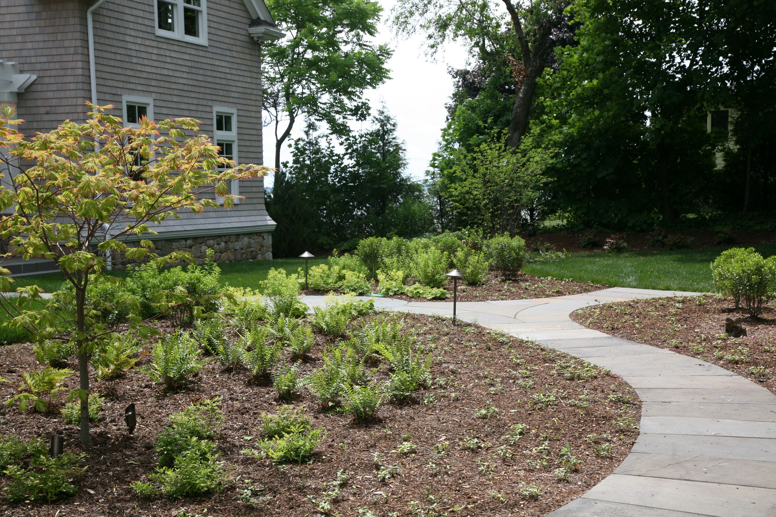 A bluestone path winds through the garden from guest parking to front entrance.