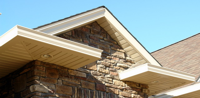 A completed marpec project decorative gutter fascia and Craftsman roofing