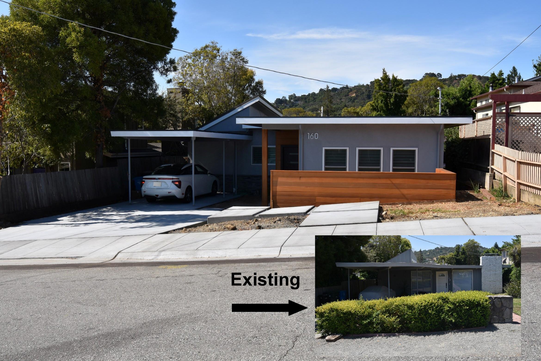 A contemporary addition in San Carlos. New driveway, sidewalk, gutter & curb.