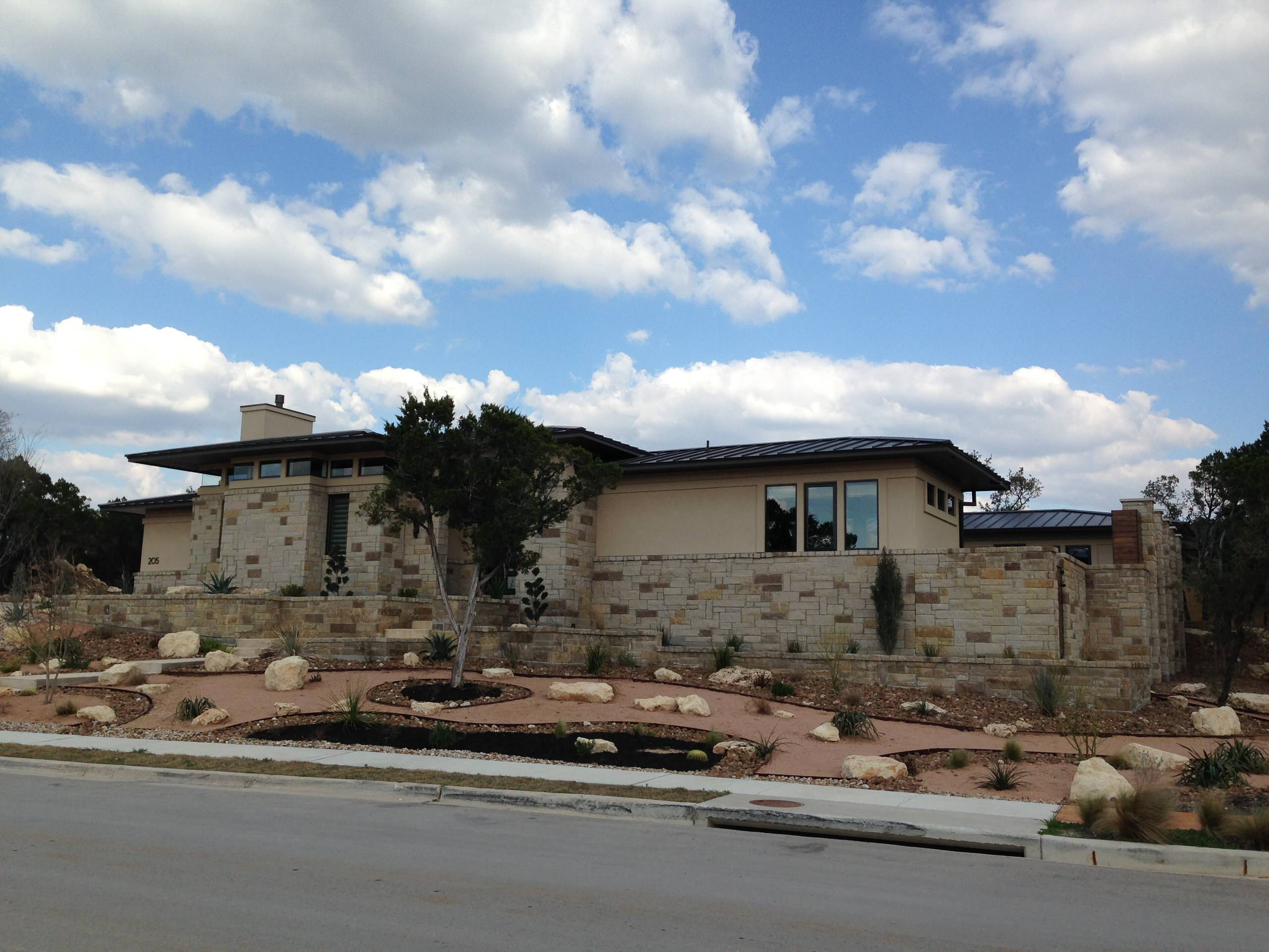 A mix of Hill Country and Prairie architecture