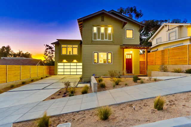 Mid Sized Arts And Crafts Green Two Story Exterior Home Photo In San Diego