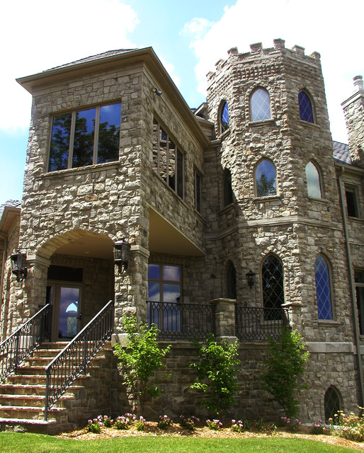 A modern castle mediterranean exterior cedar rapids for Modern castle house plans