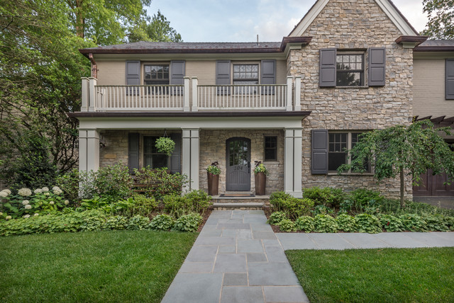 Mid-sized transitional beige two-story mixed siding exterior home idea in DC Metro with a shingle roof