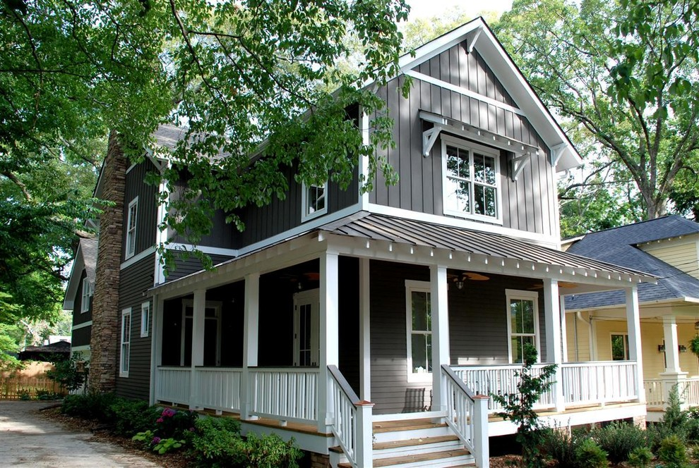 Mid-sized arts and crafts gray wood gable roof photo in Atlanta