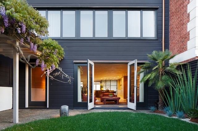 Contemporary Gray Two Story Exterior Home Idea In San Francisco