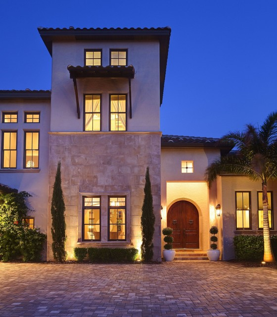 Addison misner inspired front elevation for Contemporary mediterranean homes