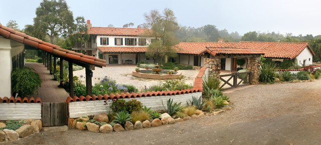 Adobe courtyard mediterranean exterior santa barbara for Adobe style homes for sale